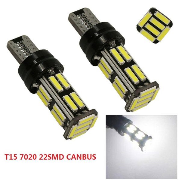 T15 W16W Car LED Lights CANBUS NO ERROR Xenon White 22SMD 7020 Tail Bulb Brake Light Auto Reverse Lamp Turn Signals DC12V