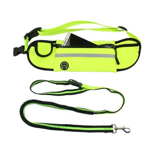 2018 NEW Reflective Adjustable Dog Harness Accessories Training Hands Free Dog Bungee Leash Lead for Small Large Dogs with Cell phone pocket
