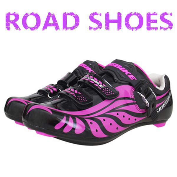HEISSE Dame rosa ultraleichte Rennrad Fahrradschloss Schuhe atmungsaktiv verschleißfeste Anti-Blockier-Fahrradschuhe scarpe Rennrad