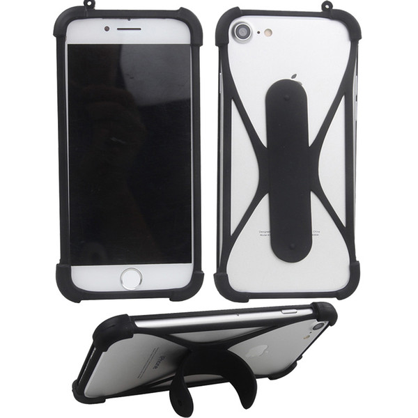Silicone frame Phone Cases with holder For Smart Phone Cell Phone Rubber Cover Universal Bumper Case