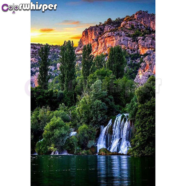 Diamond Painting Full Square/Round Drill Waterfall Daimond Lake Setting Sun Painting Mosaic Embroidery Cross Stitch Picture 594D