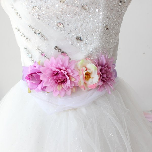 Bride flower sash for Girl women Artificial Floral sash belt wedding Belt