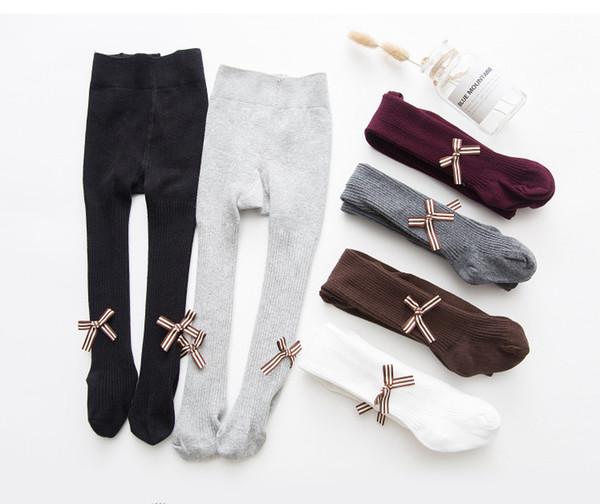 Girls pantyhose kids stripe Bows tie applique leggings autumn baby vertical stripe knitting tights legs girl cotton princess bottoms F0008