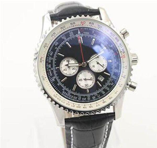2018 Quartz -Watch Black Dial Fluted Case Black Leather Belt Fluted Case 1884 Navitimer Wristwatch Original clasp