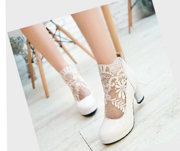 Бесплатно отправить горячая весна 2018 новый стиль гренадин крючком грубый каблук высокий каблук женщина один обувь