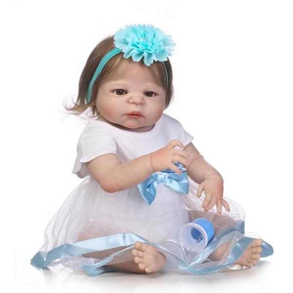 23inch newborn baby full body soft silicone vinyl reborn doll simulation doll 57cm lifelike newborn bebe girl Christmas gift