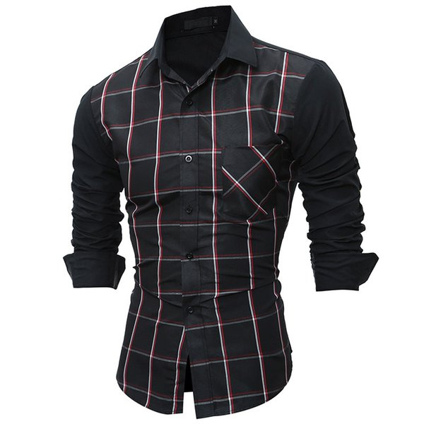 2017 Patchwork Classic Plaid Shirts Brand-clothing Mens Dress Shirts Long sleeve Slim Fit Casual Man Chemise homme