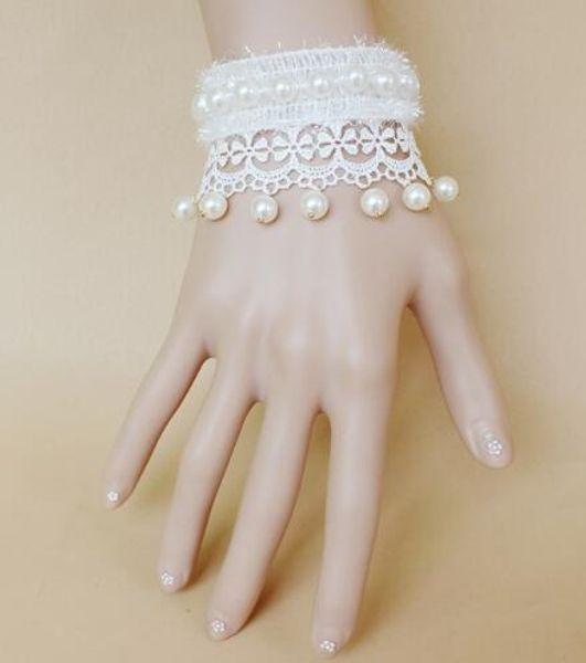 Livraison gratuite européenne et américaine mariée noble ornements dentelle blanche perle bracelet bracelet bande bijoux mode classique raffiné élégant
