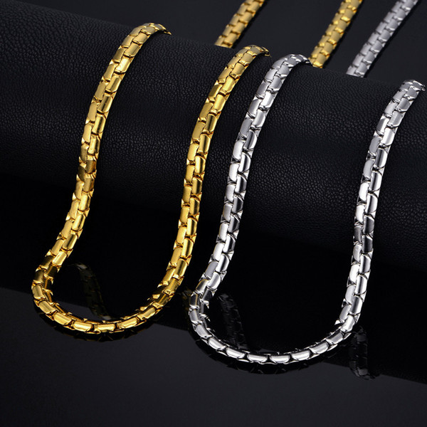 "Mens Gold Chain Necklace 6MM Long Necklace for Men 20"" 23"" 26"" Gold Color Stainless Steel Flat Chain Necklaces Men Collier"