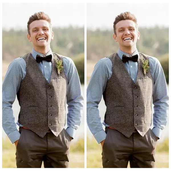 2019 Retro England Fashion Groom Vests Farm Wedding Wool Vests Custom Made Slim Fit Mens Suit Vest Prom Wedding Waistcoat Groomsmen bestman