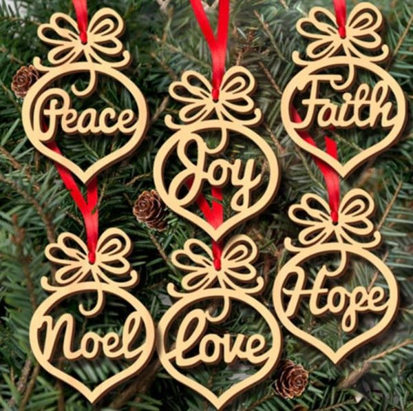 6pc Wood Christmas Tree Ornaments Decoration Small Hollow Heart Bubble pattern Pendant letters Hanging Ornaments Christmas bulb Shape SN638