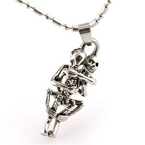 Stainless Steel Skull Skeleton Hug Together Bone Couples Pendant Necklace with Chain Punk Style Fashion Trendsetter Jewelry