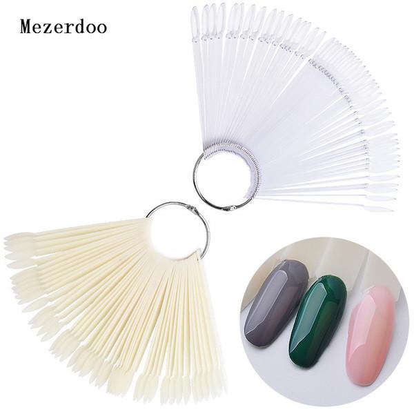 50pcs Oval False Display Nail Art Fan Wheel Practice Board Tip Sticks for Dipping Powder Colors UV Gel Nail Polish Display Chart