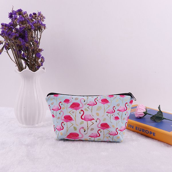 1PC Cute Flamingo Polyester Pencil Cases Stationery Storage Pen Bag For Gifts School Office Pencil Bags Lovelty Pouch