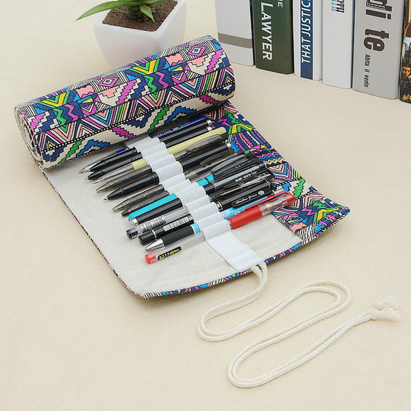National Canvas School Pencil Case 36 Holes Roll Up Pencil Bag Portable Box School Supplies