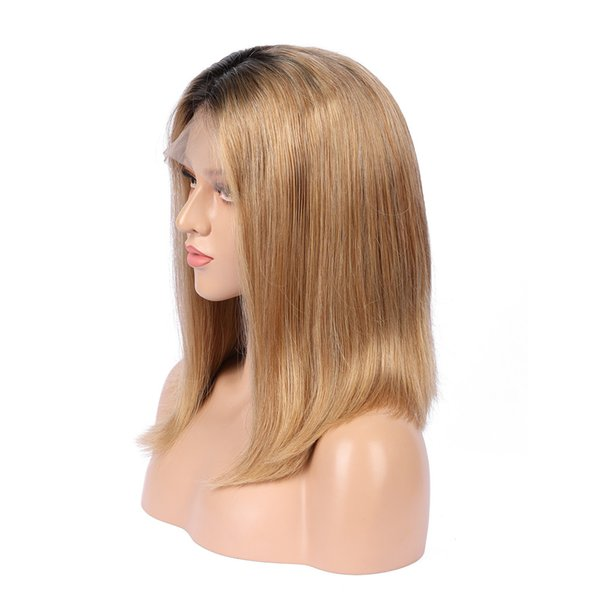 Ombre Honey Blonde Color 1B 27 Thick Glueless Full Lace Human Hair Wigs Brazilian Straight Lace Front Wig For Black Women