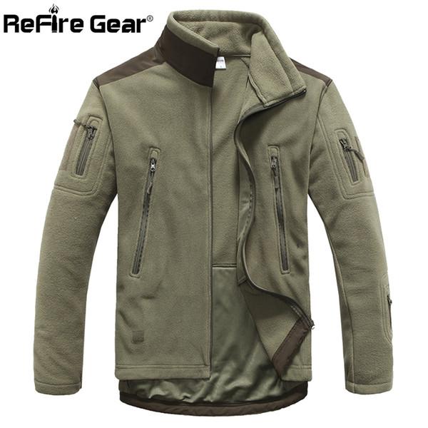 ReFire Gear Winter Warm Style Fleece Jacket Men Thicken Polar Outerwear Coat Army Clothing Many Pockets Tactical Jacket