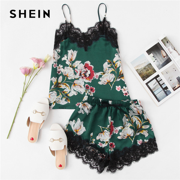 SHEIN Multicolor Sexy Floral Print Lace Trim Spaghetti Strap Cami Top And Knot Front Shorts PJ Set Summer Women Casual Nightwear