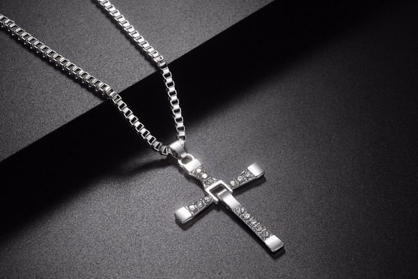 New Male Necklaces & Pendants Fashion Movie jewelry The Fast and The Furious Toretto Men Classic CROSS Pendant Necklace