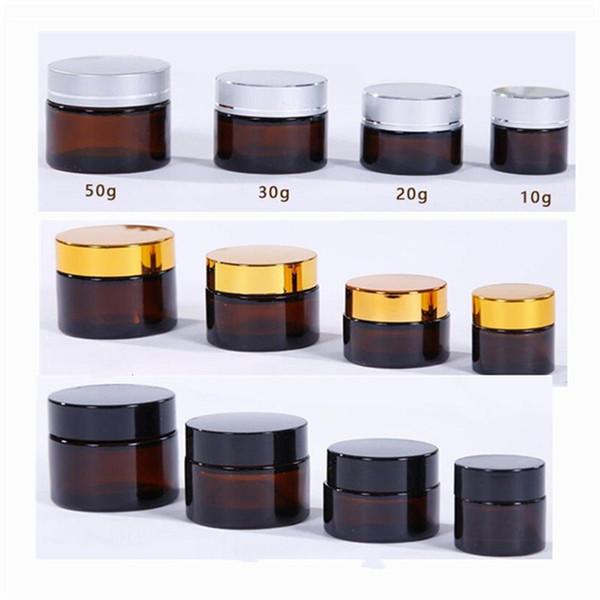 Barattoli di vetro tondi ambra vuoti 10/20/30 / 50ml, contenitori di vetro di fascia alta Fiala di vetro crema, fodere interne bianche e coperchio oro / argento / nero