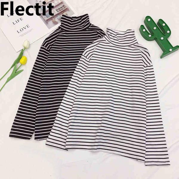 Flectit Korean Soft Cotton Striped Basic T-Shirt Women Tees Tops Casual Long Sleeve Turtleneck Stripe T Shirts Tops Female #
