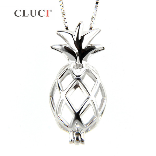 CLUCI 925 sterling silver necklace pendant popular fruit locket hollowed pineapple cage pendant 3 pcs S18101607