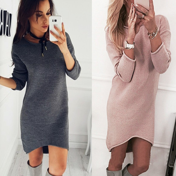 Autumn Winter Knitted Sweater Women Crew Neck Sweaters And Pullovers Female Crochet Jumper Pull Soft Knee Length Dress
