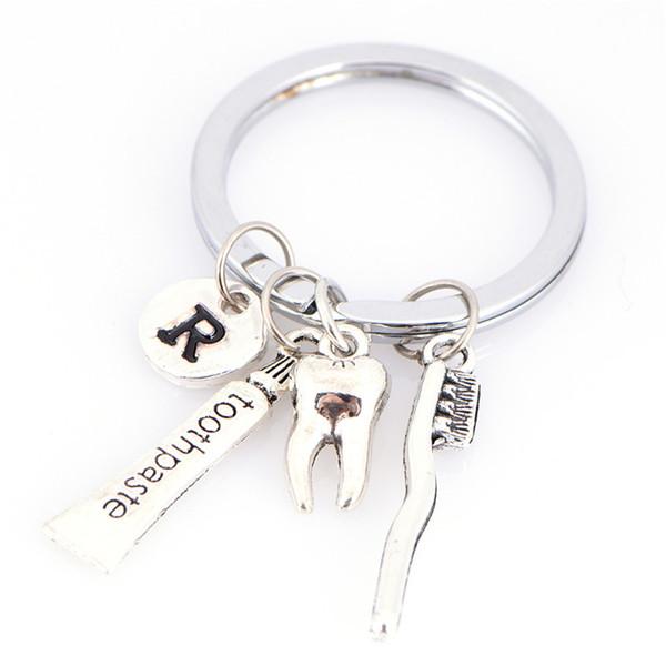 Diş / R / diş fırçası / diş macunu Charm Anahtarlık Diş Hijyenist Anahtarlık Araba Anahtarlık Kadınlar Çanta Anahtarlık
