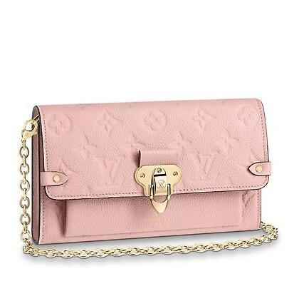 2019 CHAIN WALLET M63399 PINK Real Caviar Lambskin Chain Flap Bag LONG CHAIN WALLETS KEY CARD HOLDERS PURSE CLUTCHES EVENING