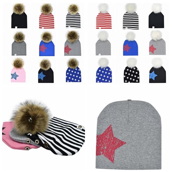 19 design Children Detachable Pom Pom cotton Baby hat Infant Cap beanie for boys Winter Warmer Outdoor Hats Star Striped KKA5843