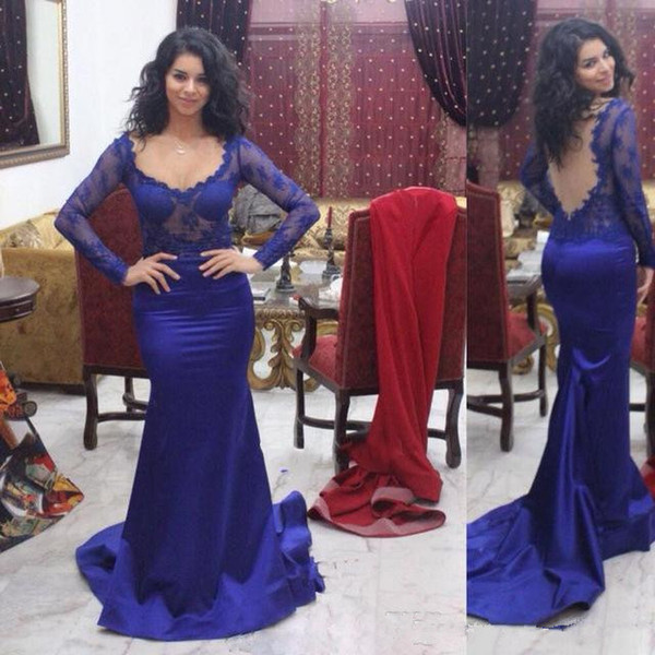 Grace Royal Blue Vestidos de noche de manga larga Encaje Sirena Vestidos de baile Tren de barrido de satén Mujeres formales Ocasión especial Vestido de fiesta