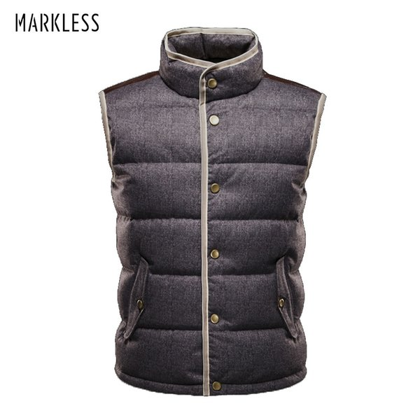 Markeless Winter Down Vest Men 90% White Duck Down Vests Brand Clothing Seamless Thick Warm Waistcoat