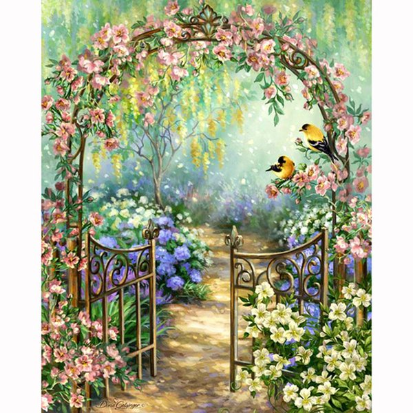 New Full circular Diamond DIY 5D Diamond Painting Flower fence Embroidery Cross Stitch Rhinestone Mosaic Painting Home Decor