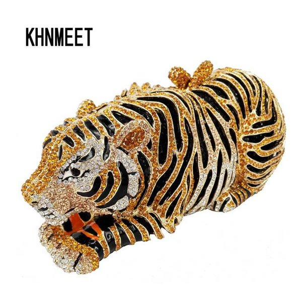 Animal Tiger Luxury Crystal Evening Bag Leopard Cocktail Party Purse Handbags Free Shipping Women Clutch bags Purse SC030 Y18102604