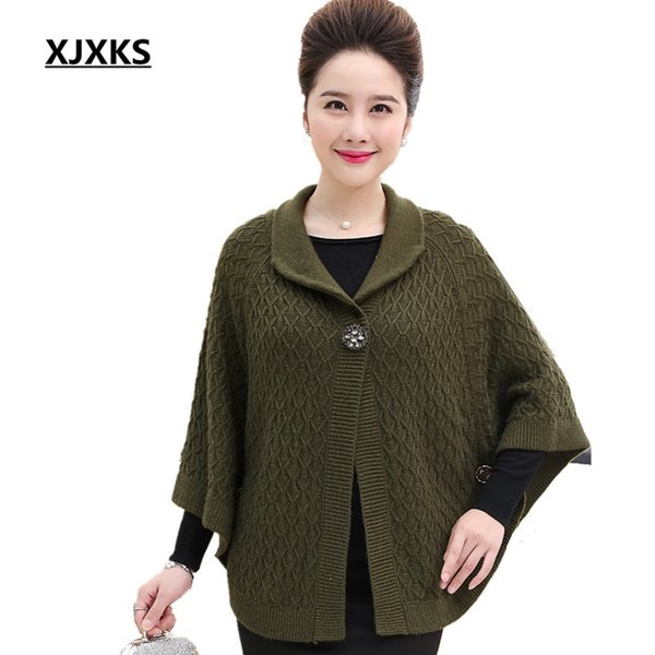 XJXKS Women Brand Fashion Clothing Loose Style Plus Szie Novelty Blends Knitted Women's Poncho Shawl For Gift