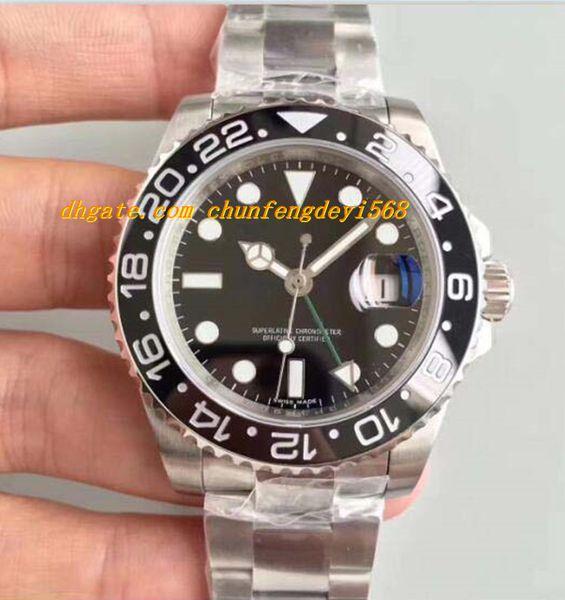 Luxury Best V7 Version Mens Automatic Watch Black/Blue Ceramic Bezel Eta 2836 Or 3186 Movement Auto Date Men 116710 Dive Box/Certificate