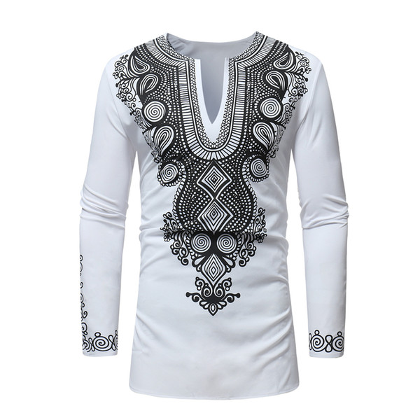 top popular RICHE BAZIN African clothing New African dashiki style national wind printing V-neck long sleeve men's T-shirt Plus size 2021