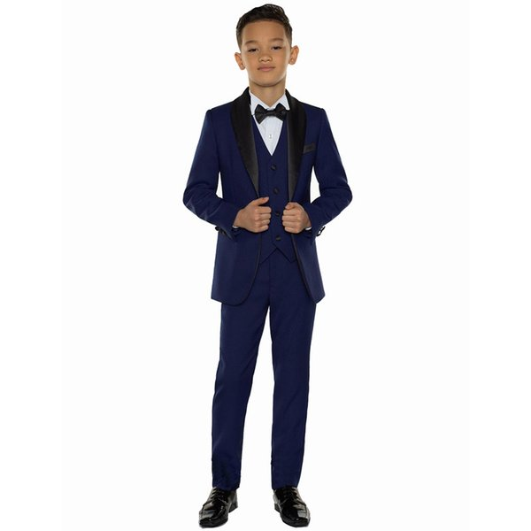 Blue Boys Suits for Weddings Prom Party Boy Suits Formal Dress for a Boy Kids Tuxedo Children Clothing Blazer(Jacket+Pants+Vest)