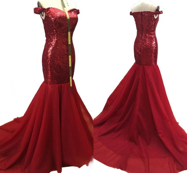 Real Photos Mermaid Evening Dresses 2018 Off Shoulder Sweep Train Formal Burgundy Blue Arabic Prom Party Gowns Plus Size Customized