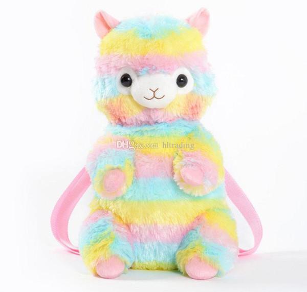 Arco iris del bebé Alpaca Mochilas Niños bolsa de peluche de juguete de dibujos animados bolso de la escuela de kinder Alpacasso bolso C5133
