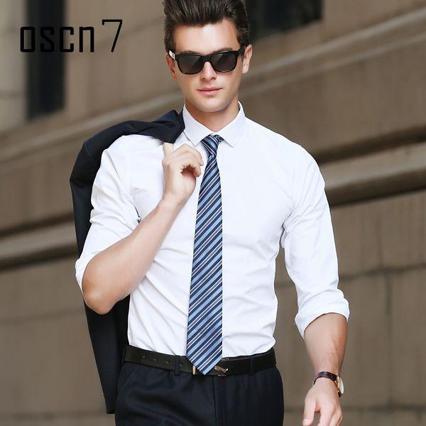 OSCN7 White Long Sleeve Shirt Men Business Classic Mens Dress Shirts Slim Fit Leisure Camisa Social Masculina High Quality Shirt