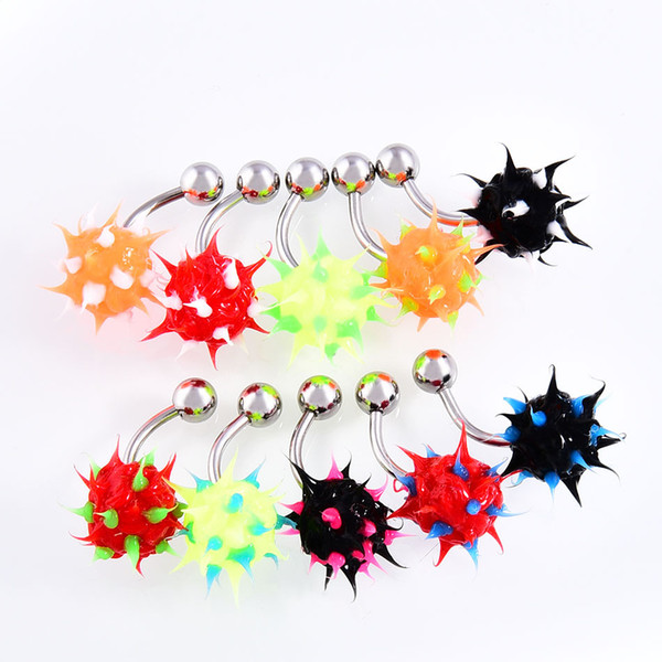 10PCS/ LOT Rainbow Color Silicon Ball Spike Belly Nipple Button ring Punk Mens Women Navel Piercing Body Jewelry