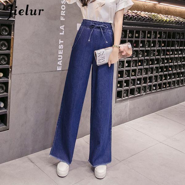 Loose S-5XL Plus Size Jeans for Women Korean Fashion Split Wide Leg Denim Pants Simple Slim Blue Jean Femme 2018 Dropship