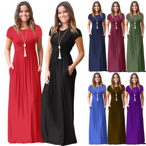 Vestido de verano de las mujeres de manga corta o cuello vestido de bolsillo de color sólido vestido de bolsillo de la playa de verano largo Maxi Party informal
