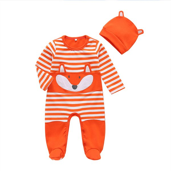 Newborn Baby Fox Long Sleeves Jumpsuits with Socks Fall 2018 Kids Boutique Clothing Infant Toddlers Boys Girls Cartoon Bodysuits