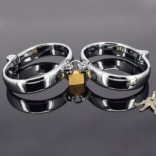 High quality metal bdsm women/men hand s slave fetish bondage restraints s for sex torture toys adult games Y18100802