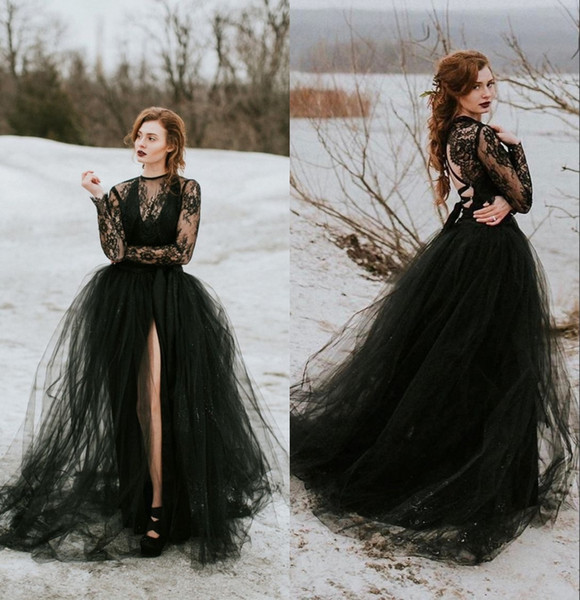 Vestido de casamento gótico de tule de renda preta com mangas compridas sexy sheer top slit saia mulheres não branco vestido de noiva nova chegada
