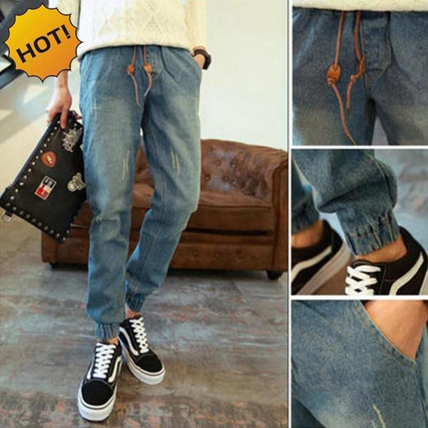 Estilo mayorista-CALIENTE para hombre Cintura elástica Jeans Adolescentes Denim Cuffed Leg Harem Pants Boys Blue Drawstring Ankle Banded Pants Bottoms 28-34