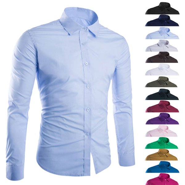 Fashion Spring Autumn Men Shirt Long Sleeve Solid Color Easy-care Anti Crease Man Casual Shirts M-3XL H9