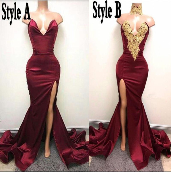 2017 Hot Burgundy Mermaid Prom Dresses Sexy Backless Sweetheart High Split Long Evening Gowns Ruched Celebrity Holiday African Party Gowns